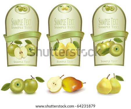 Gold labels with different sorts of fruit. Vector. - stock vector