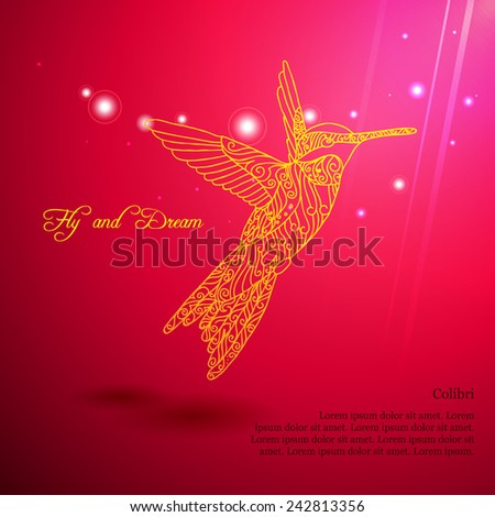 Gold lace colibri flying for dream with sun lights - stock vector