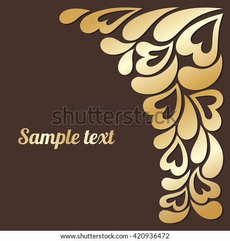gold lace leaves, flowers and hearts .floral design element in retro style for greeting cards, invitations.vector illustration - stock vector