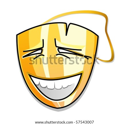gold laughing vector mask - stock vector