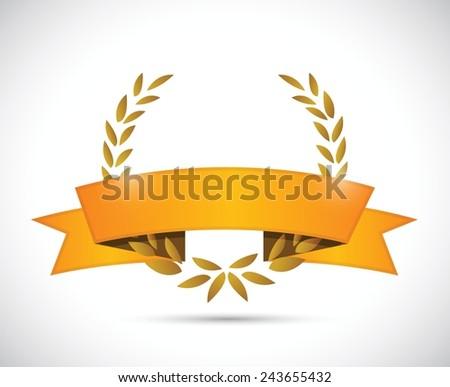 gold laurel and orange ribbon. illustration design over a white background - stock vector
