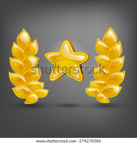Gold laurel and star. Vector illustrations. - stock vector