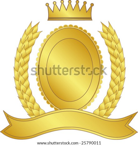 Gold laurel wreath and medallion with a crown - stock vector