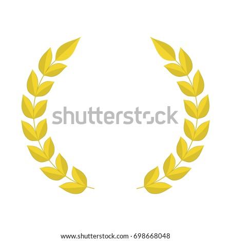 Gold Laurel Wreath Icon Template Design Stock Vector 698668048