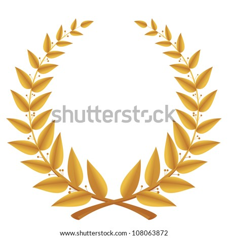 Gold laurel wreath isolated, vector - stock vector