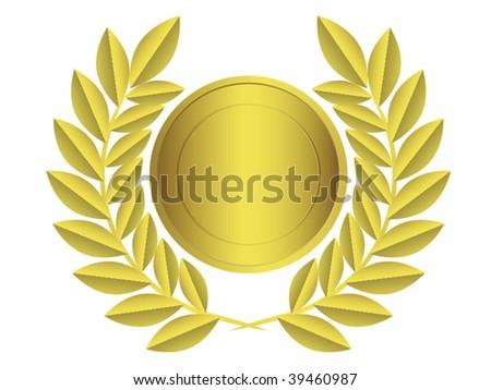 Gold laurel wreath.Vector illustration - stock vector