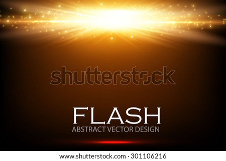 Gold light design. Illuminated illustration. Electric flash for your business design. Vector illustration. - stock vector