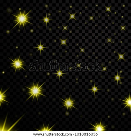 Gold light stars on black transparent background. Abstract bokeh glowing design. Shine bright elements. Golden shiny fantasy glow in dark. Vector illustration