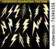 Gold lightning set isolated on black. Vector - stock photo