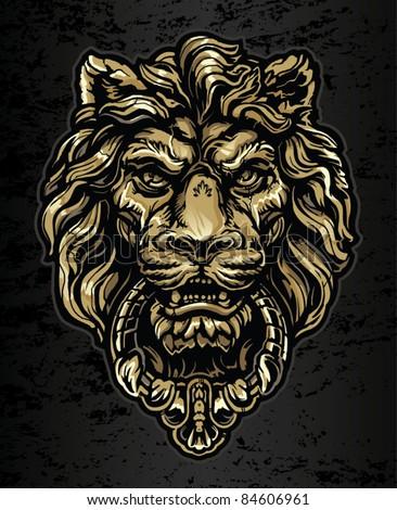 Gold Lion Door Knocker Stock Vector (2018) 84606961 - Shutterstock