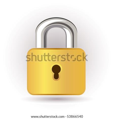 Gold lock - stock vector