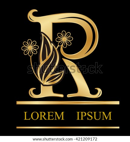 Gold logo font r type Design leaves with flowers in letter