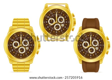 gold mechanical wristwatch vector illustration isolated on white background - stock vector