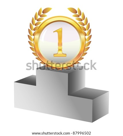 gold medal and a pedestal - stock vector