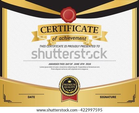 Gold Medal Certificate Template Vector Illustration Stock Vector