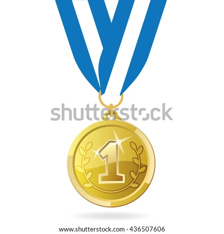 Gold medal for first place. Olympic games medal on ribbon. Rio games gold medal Vector illustration. Gold medal icon. Medal for 1st place.