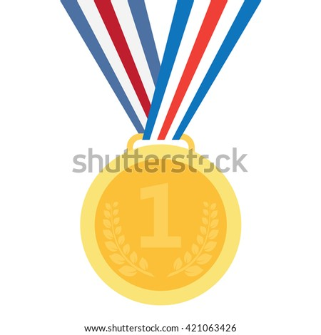 Gold medal. Gold medal icon. Gold medal on the white background. Isolated gold medal. Gold medal for first place. Gold medal flat icon - stock vector