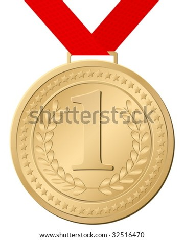 Gold medal isolated on a white background. Vector illustration.