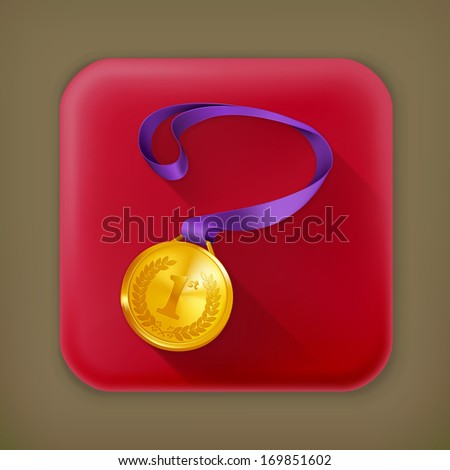 Gold Medal, long shadow vector icon