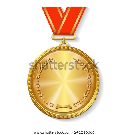 gold medal on red ribbon isolated on  white background - stock vector