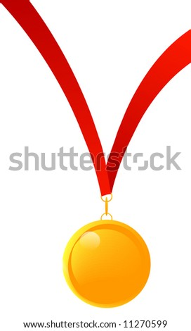 gold medal or medal of appreciation with red ribbon - vector - stock vector