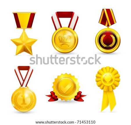 Gold medal, set 10eps - stock vector