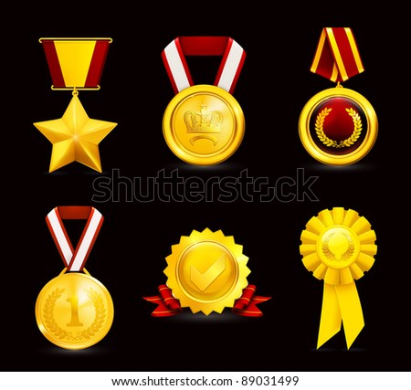 Gold medal, set on black - stock vector