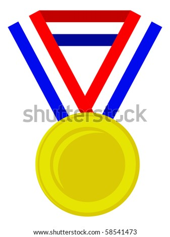 gold medal with dutch flag - stock vector