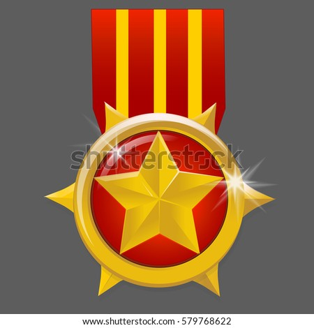 gold medal with star isolated on a grey background