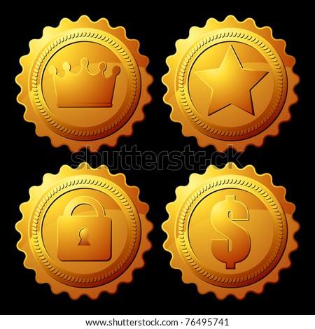 gold medallion - stock vector