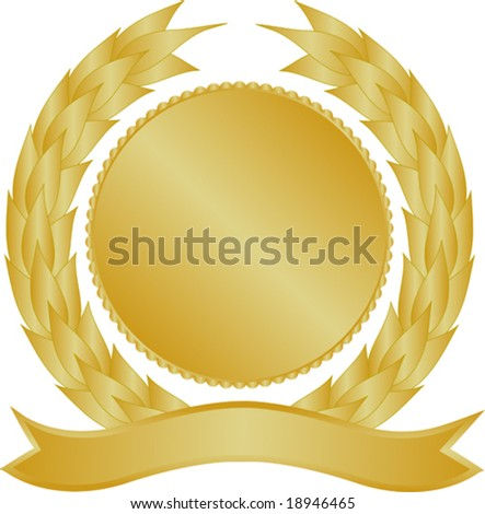 Gold medallion with wreath and banner - stock vector