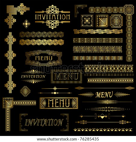Gold menu and invitation border elements - stock vector
