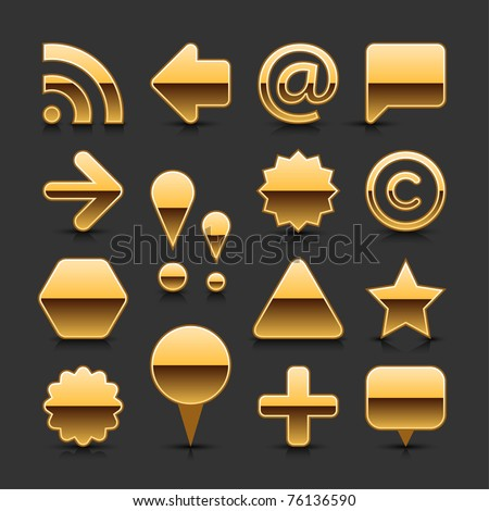 Gold metal blank web button set with black reflection and shadow on gray background - stock vector