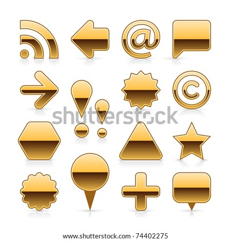 Gold metal web button set with gray shadow and grey reflection on white background - stock vector