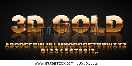 Gold metallic style 3d vector extruded font set