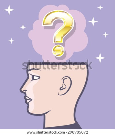 Gold Mindful Question vector art - stock vector