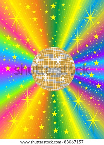 gold mirror ball with colored background - stock vector