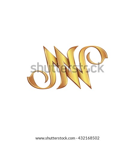 Gold monogram double letter N. Vector golden initials logo design for wedding greeting card and premium business cards. - stock vector