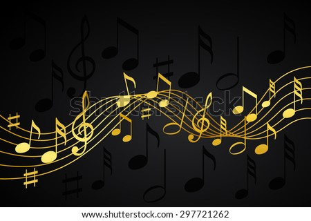 Gold music notes on a solid black background - stock vector