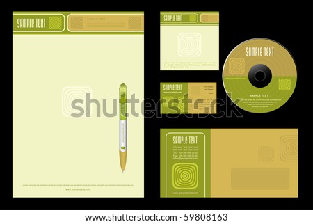 Gold Nature - template vector background (blank, card, cd, note-paper, envelope, pen) - stock vector