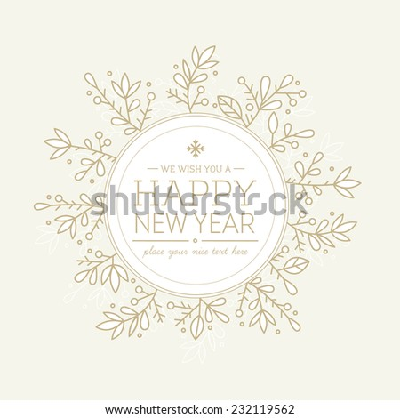 Gold New Year Round Composition Greeting Card - stock vector