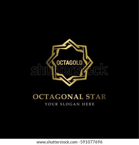 Stock Vector Gold Octagonal Star Logo Vector In Elegant Style With Black Background on Boxing Steps Diagram