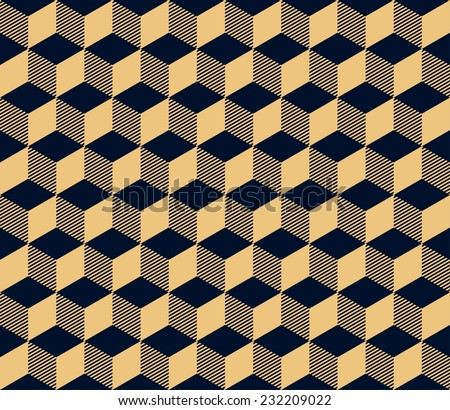 gold on black seamless geometric pattern of cubes in art deco style. editable layers - stock vector