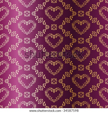 Gold-on-Purple seamless sari pattern with hearts (vector); a JPG version is also available - stock vector