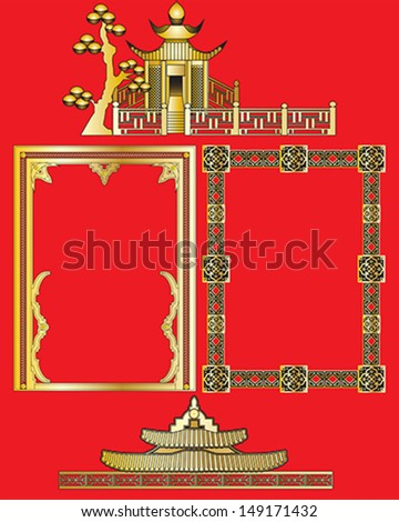 Gold Oriental Borders and Decorations in vector format.