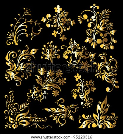 Gold Ornament Decor - stock vector