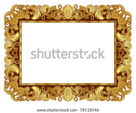 gold ornate frame in the Renaissance style, in isolation