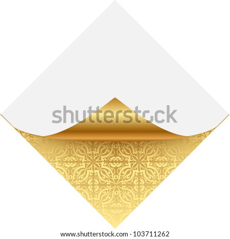 Gold ornate note paper - stock vector