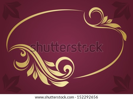 Gold oval frame  - stock vector