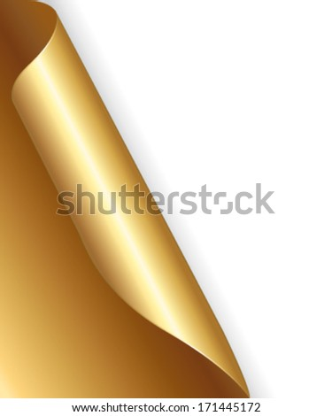 Gold page with folded corner background. Vector illustration. - stock vector